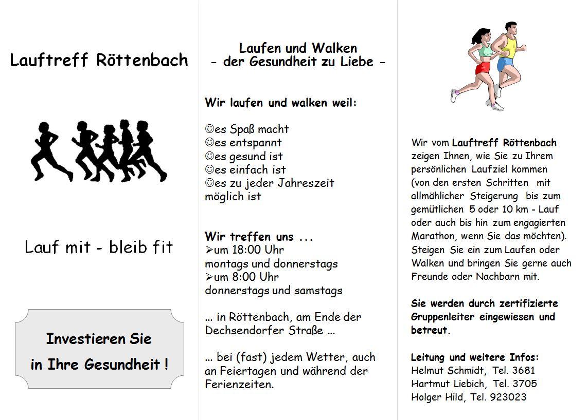 Flyer Lauftreff Röttenbach